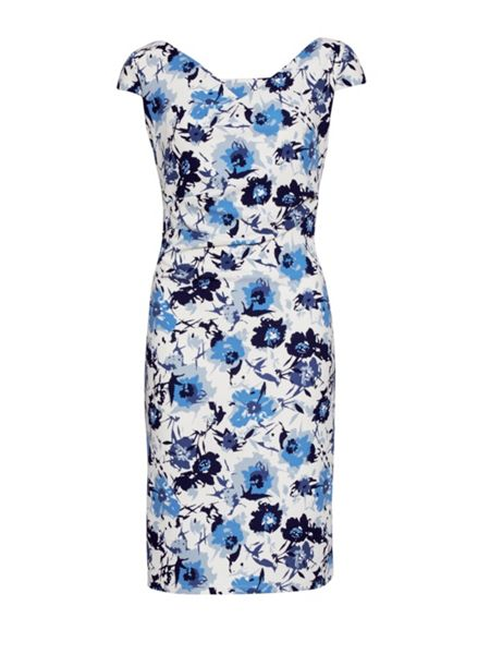 Gina Bacconi Blue floral print textured jersey