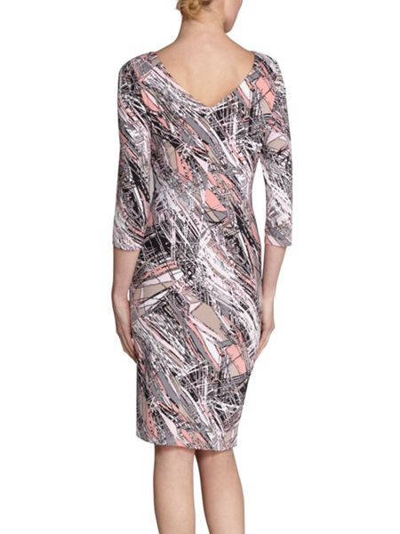 Gina Bacconi Pink beige abstract print jersey