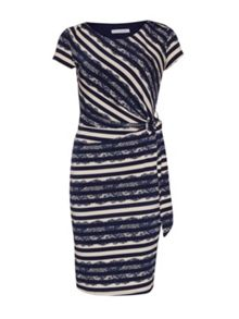 Gina Bacconi Navy cream stripe and lace print jersey