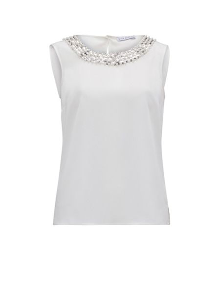 Gina Bacconi Soho Crepe Cami With Sequin Front Neck