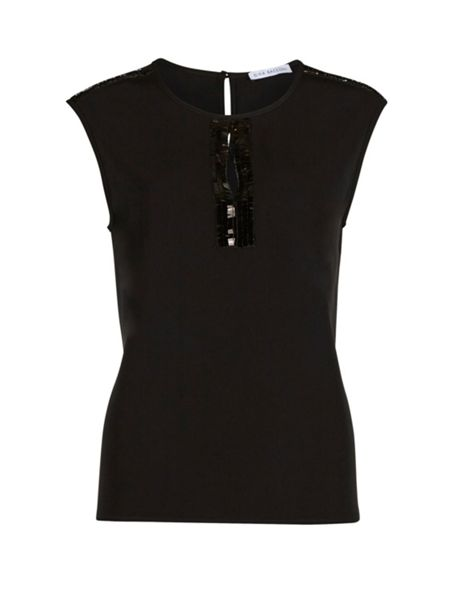 Gina Bacconi Soho crepe top with sequin trim