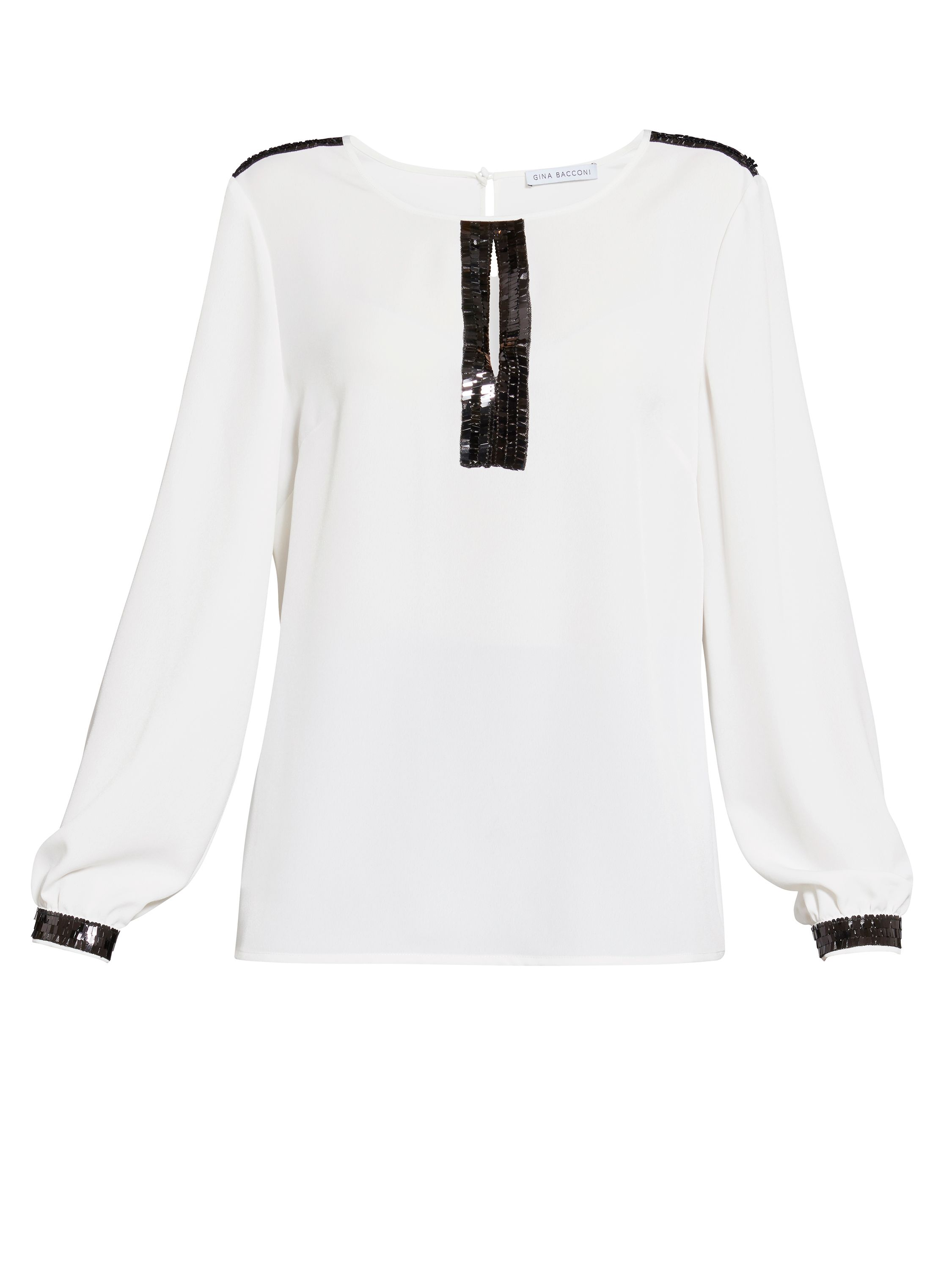 Gina Bacconi Soho Crepe Blouse with Sequin Trim, Cream