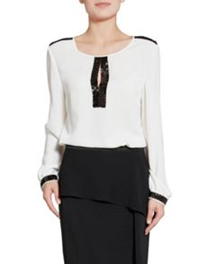 Gina Bacconi Soho Crepe Blouse with Sequin Trim