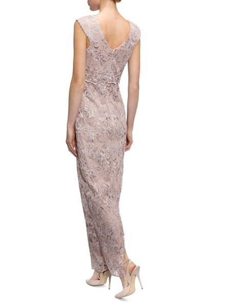 Gina Bacconi Corded embroidery oriental floral maxi