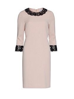 Lace Collar And Cuff Moss Crepe Dress