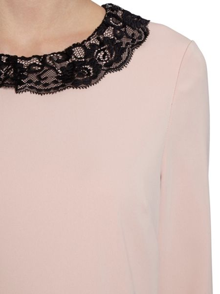 Gina Bacconi Lace Collar And Cuff Moss Crepe Dress