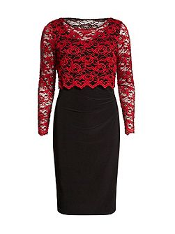 Dress With 3D Embroidered Net Overtop