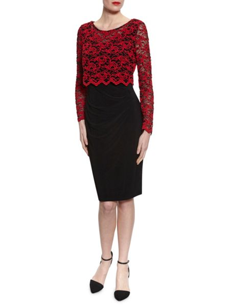Gina Bacconi Dress With 3D Embroidered Net Overtop