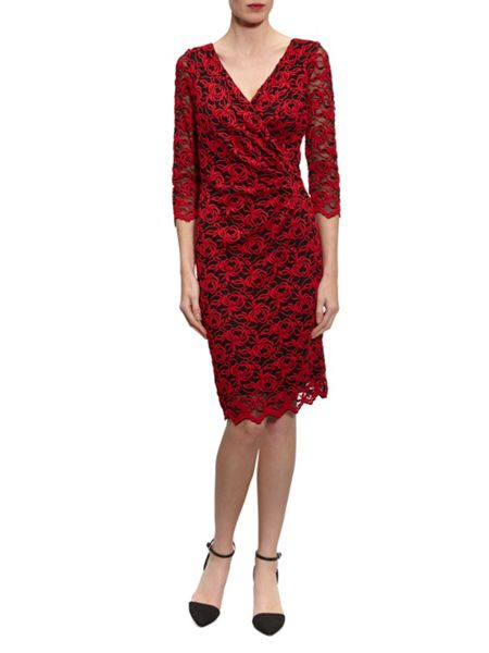 Gina Bacconi 3D Embroidered Net Dress