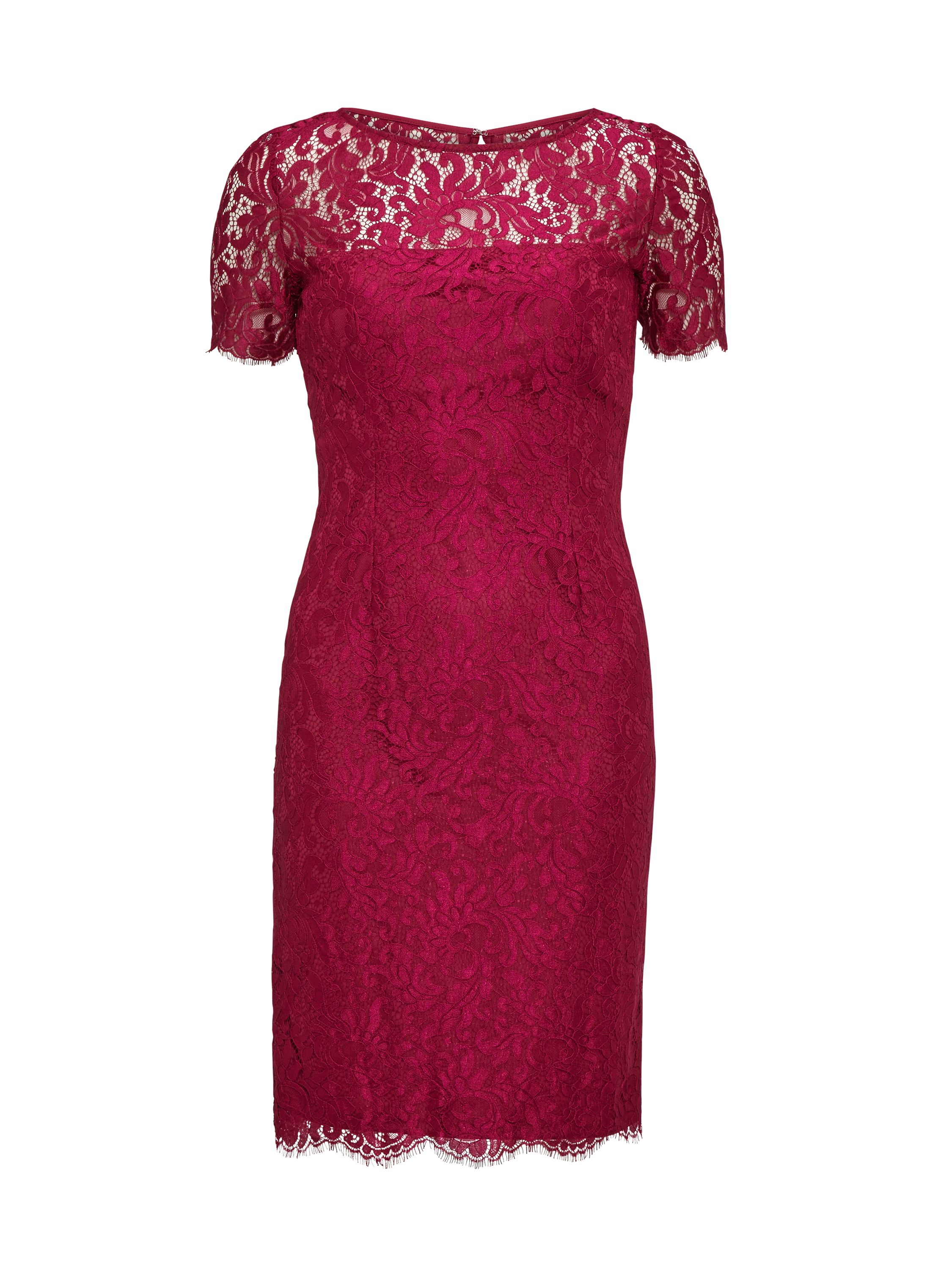 Gina Bacconi Bright Wine Scallop Eyelash Lace Dress, Red