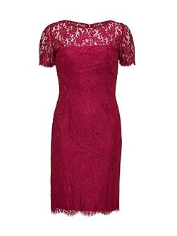 Bright Wine Scallop Eyelash Lace Dress