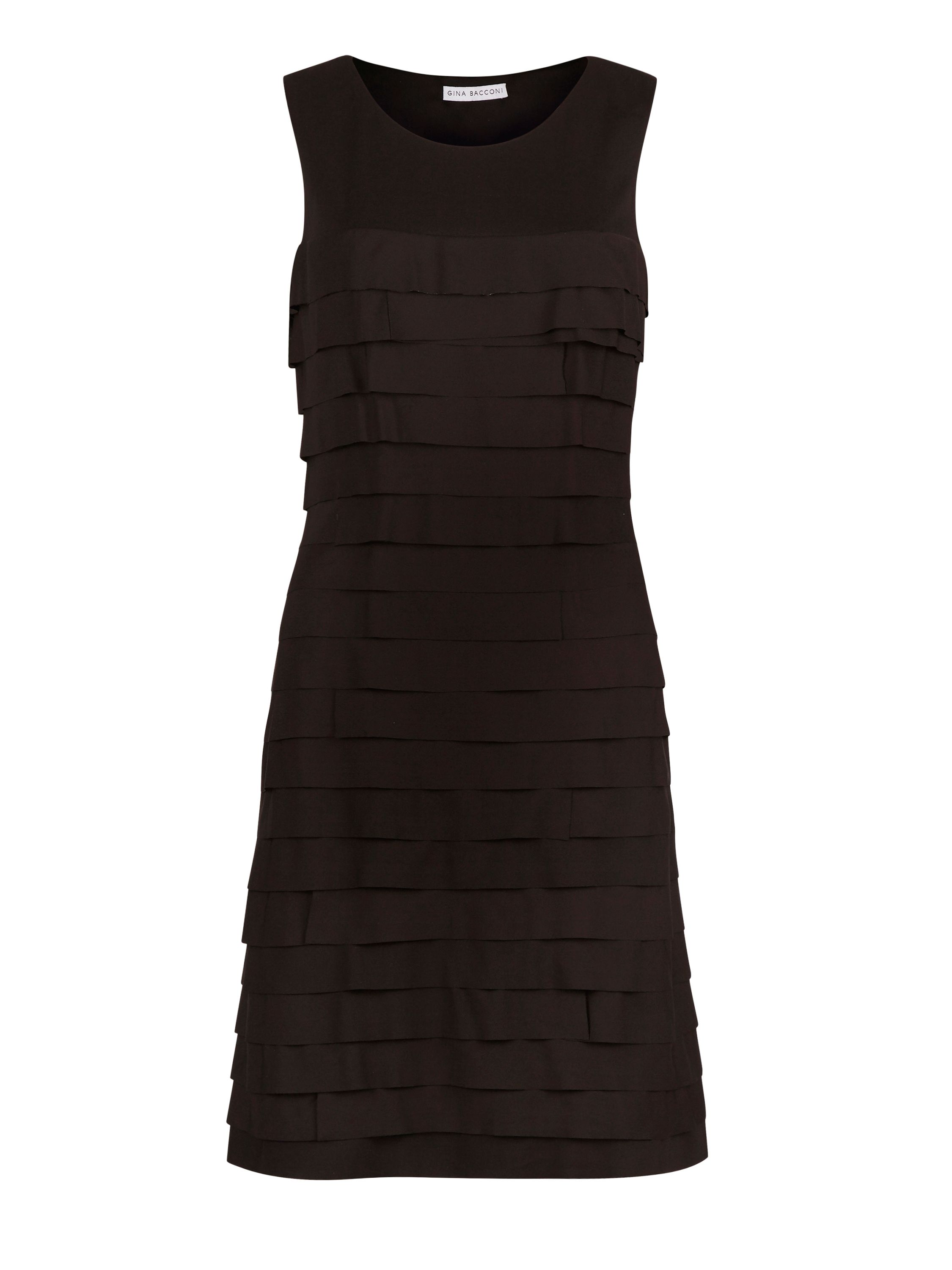 Gina Bacconi Crepe De Chine Layered Dress, Black