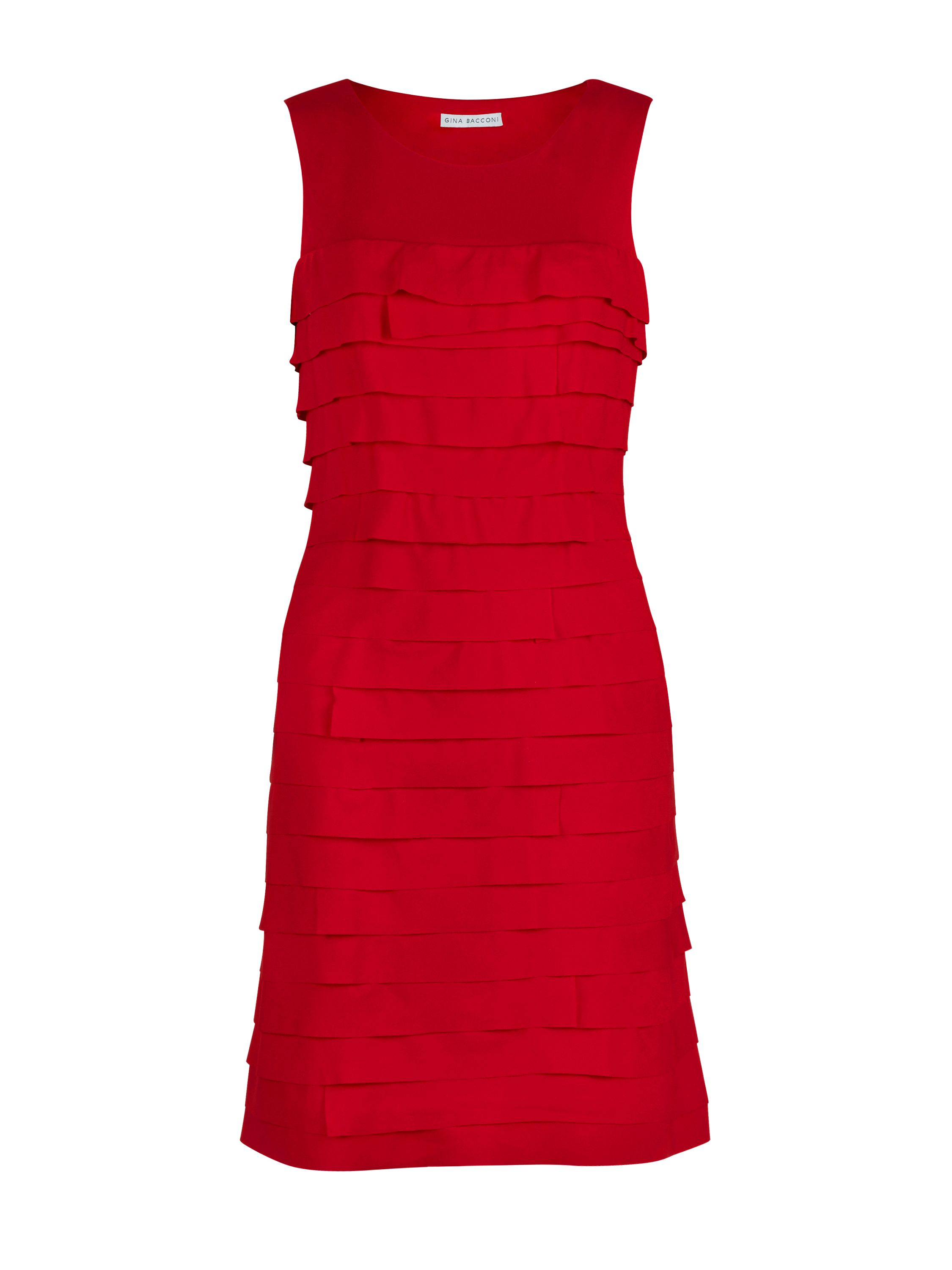 Gina Bacconi Crepe De Chine Layered Dress, Red