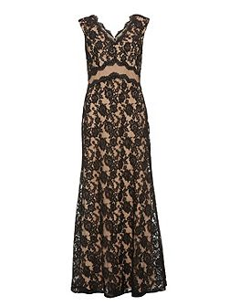 Lace maxi dress with mesh panel