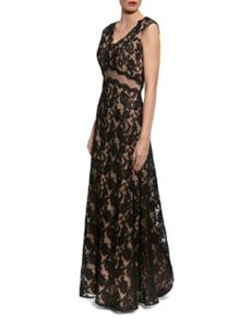 Gina Bacconi Lace maxi dress with mesh panel