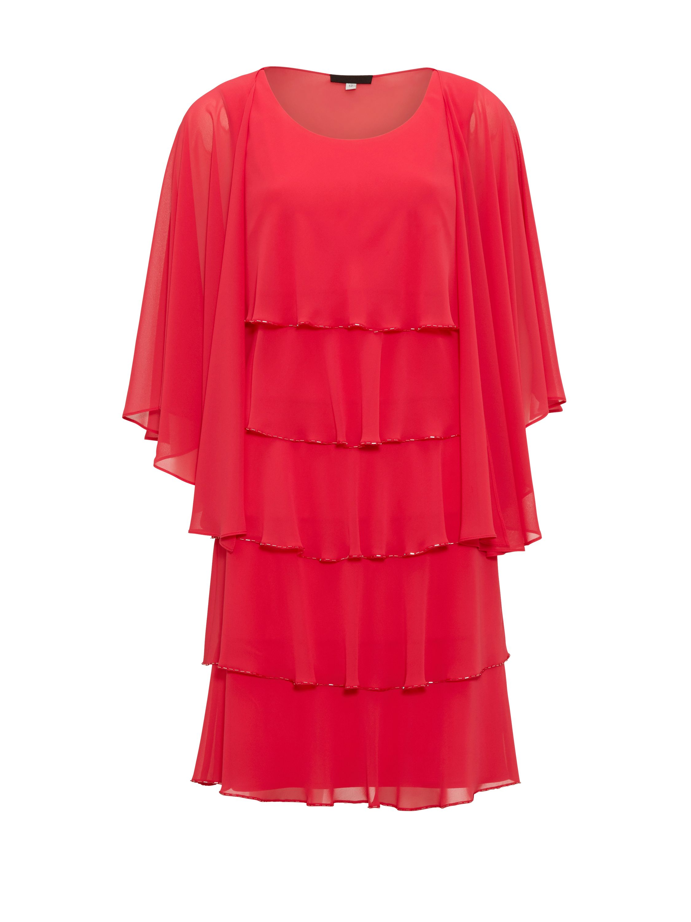 Gina Bacconi Beaded Edge Tiered Dress And Shawl, Red