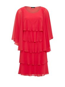 Gina Bacconi Beaded Edge Tiered Dress And Shawl