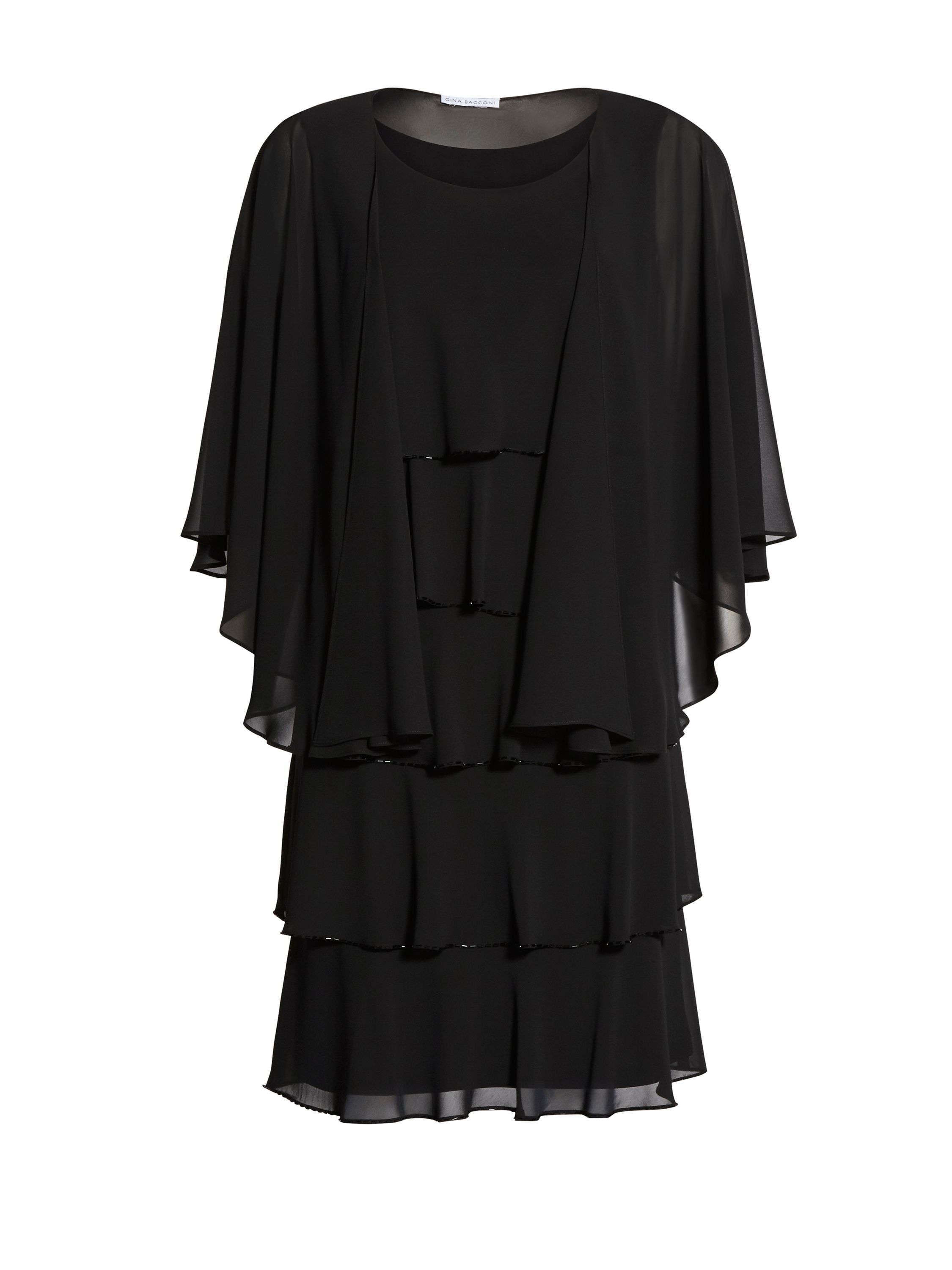 Gina Bacconi Beaded Edge Tiered Dress And Shawl, Black
