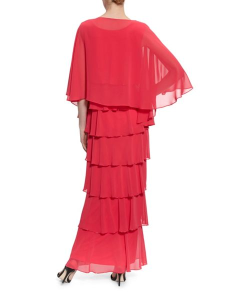 Gina Bacconi Beaded Edge Tiered Maxi Dress And Shawl