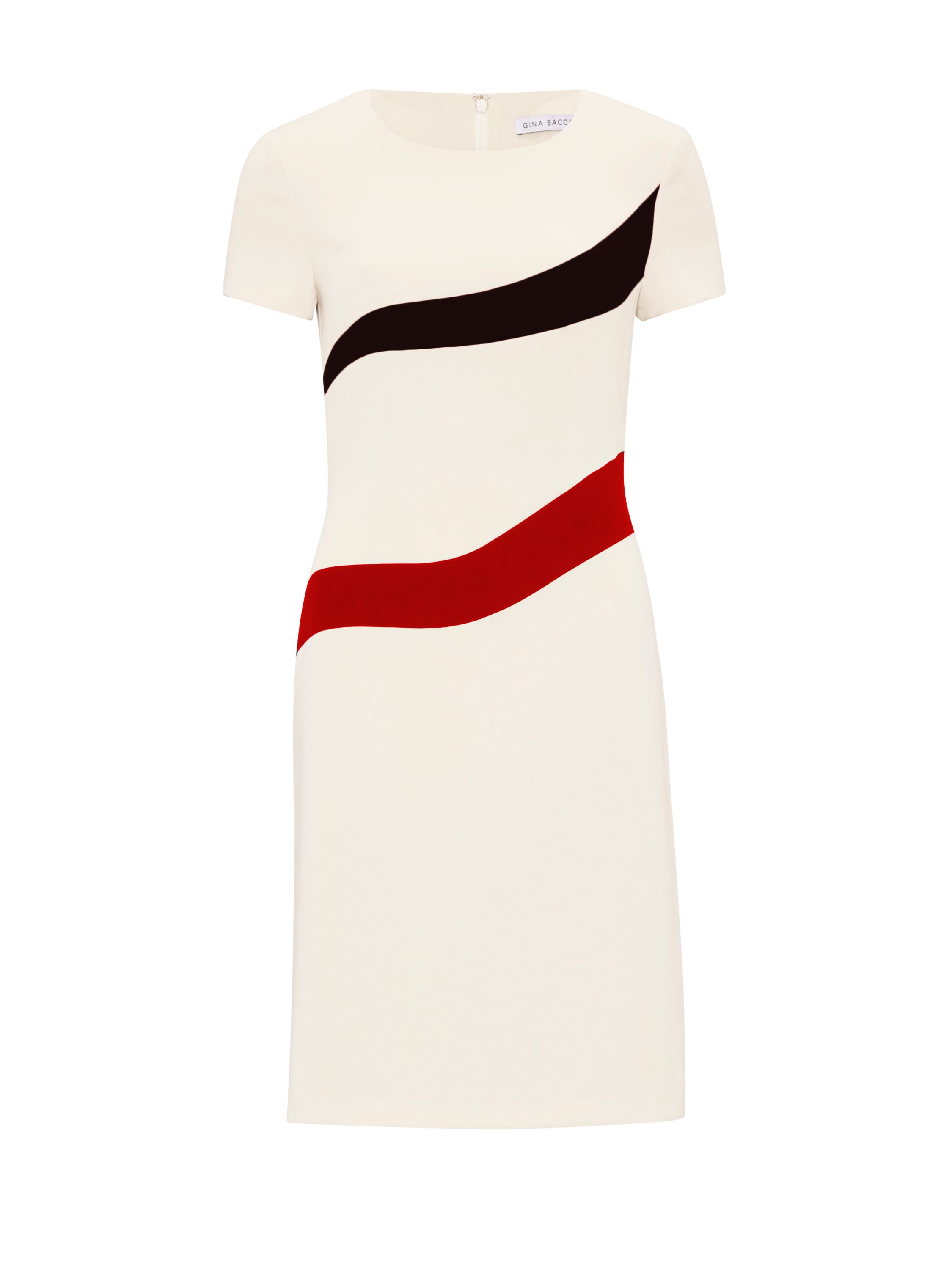 Gina Bacconi Stretch Moss Crepe Panel Dress, Cream