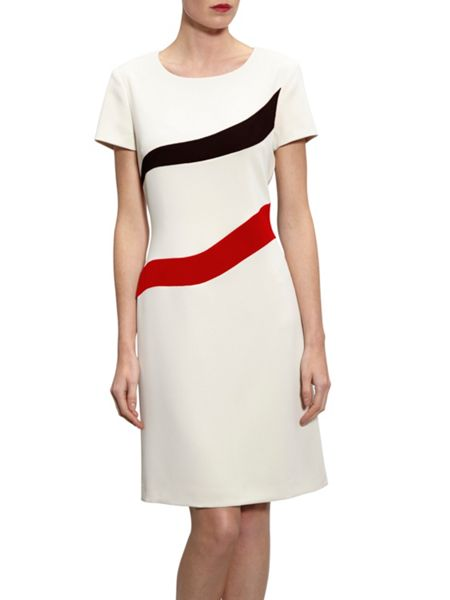 Gina Bacconi Stretch Moss Crepe Panel Dress