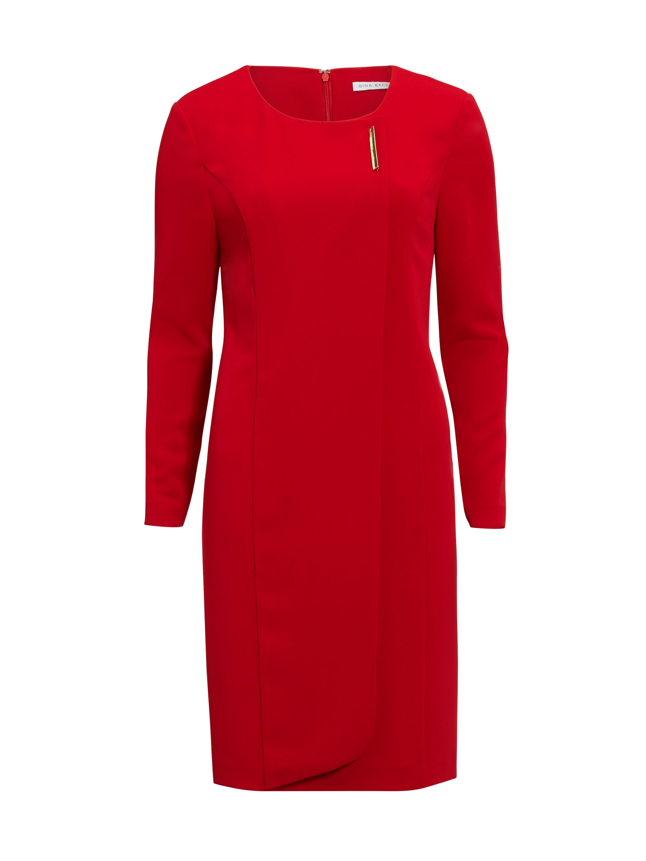 Gina Bacconi Stretch Moss Crepe Dress With Gold Trim, Red