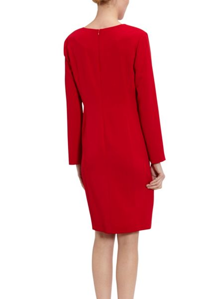 Gina Bacconi Stretch Moss Crepe Dress With Gold Trim