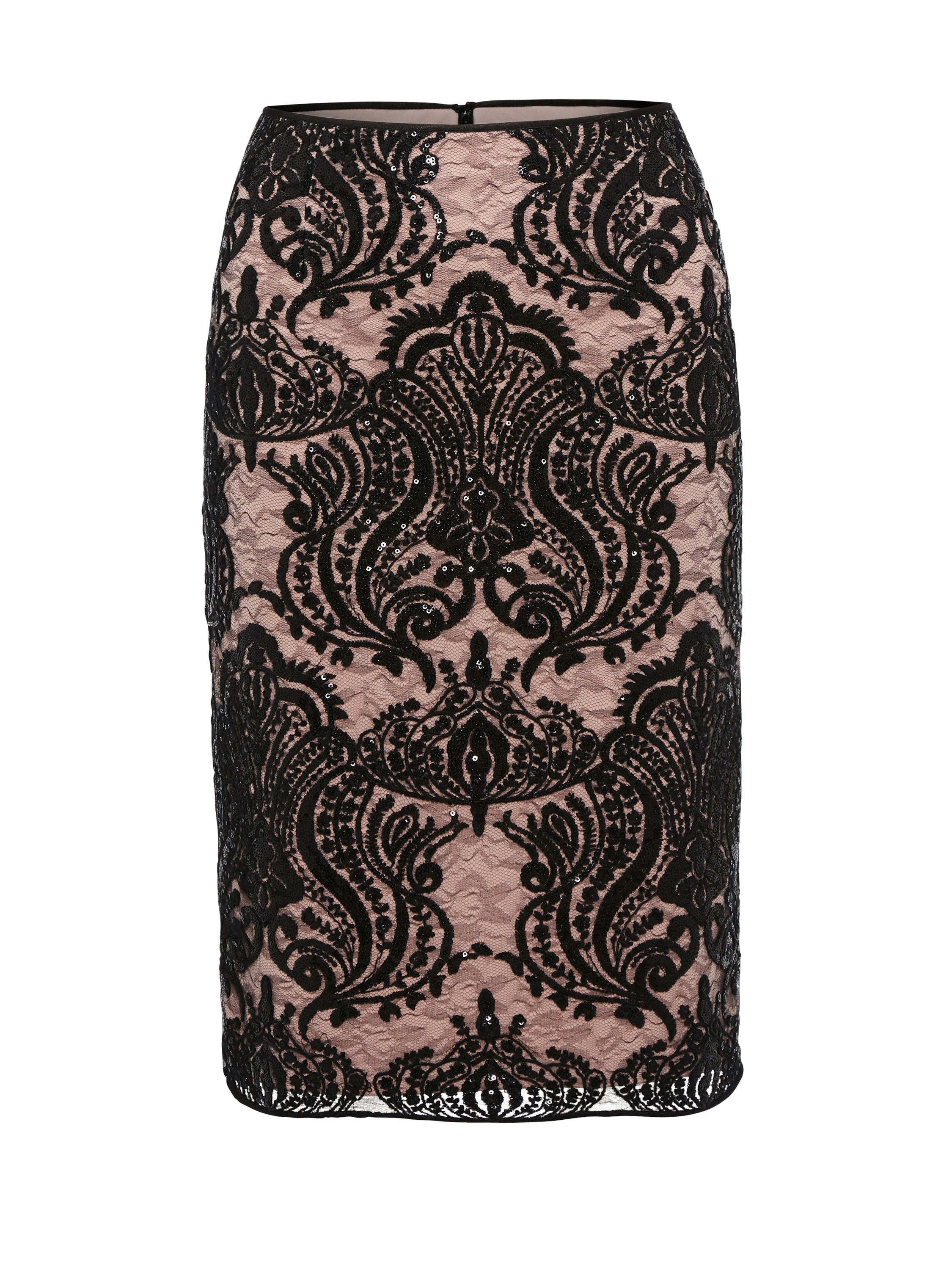 Gina Bacconi Baroque Sequin Mesh Lined Skirt, Black