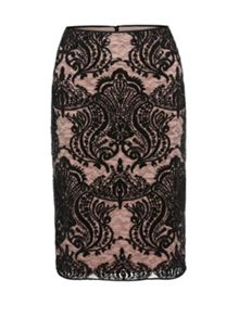 Gina Bacconi Baroque Sequin Mesh Lined Skirt