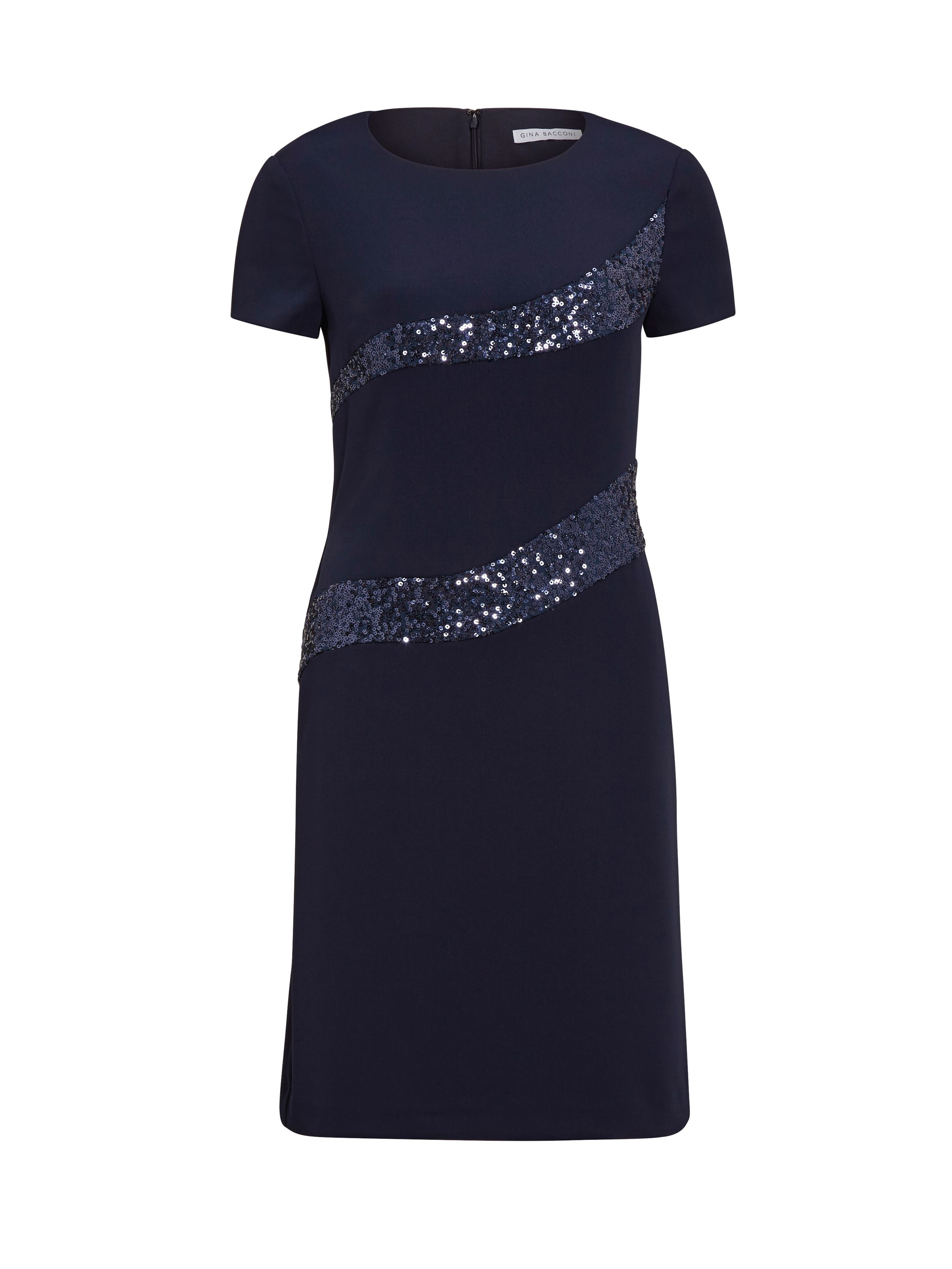 Gina Bacconi Moss Crepe And Sequin Panel Dress, Blue