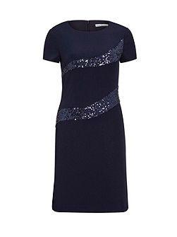 Moss Crepe And Sequin Panel Dress