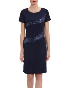 Gina Bacconi Moss Crepe And Sequin Panel Dress
