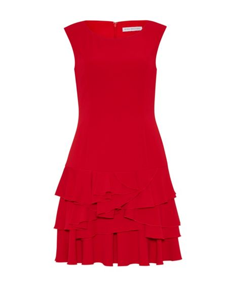 Gina Bacconi Moss crepe tiered skirt dress