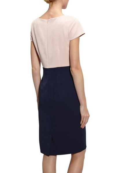 Gina Bacconi Moss Crepe Colour Block Dress