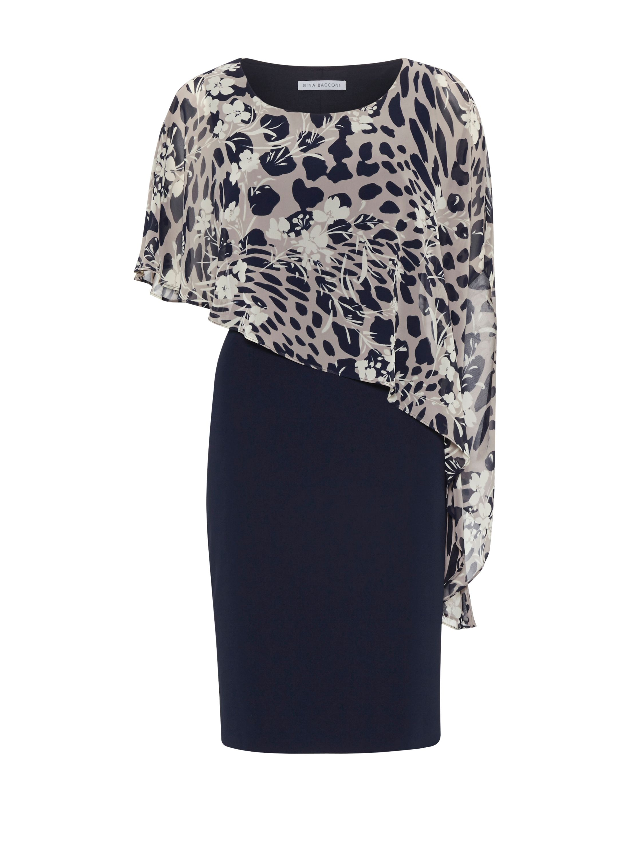 Gina Bacconi Plain Dress And Animal Floral Cape, Black