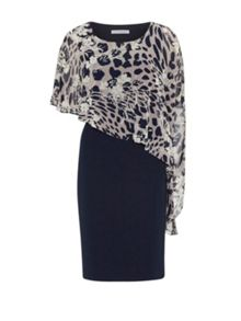 Gina Bacconi Plain Dress And Animal Floral Cape