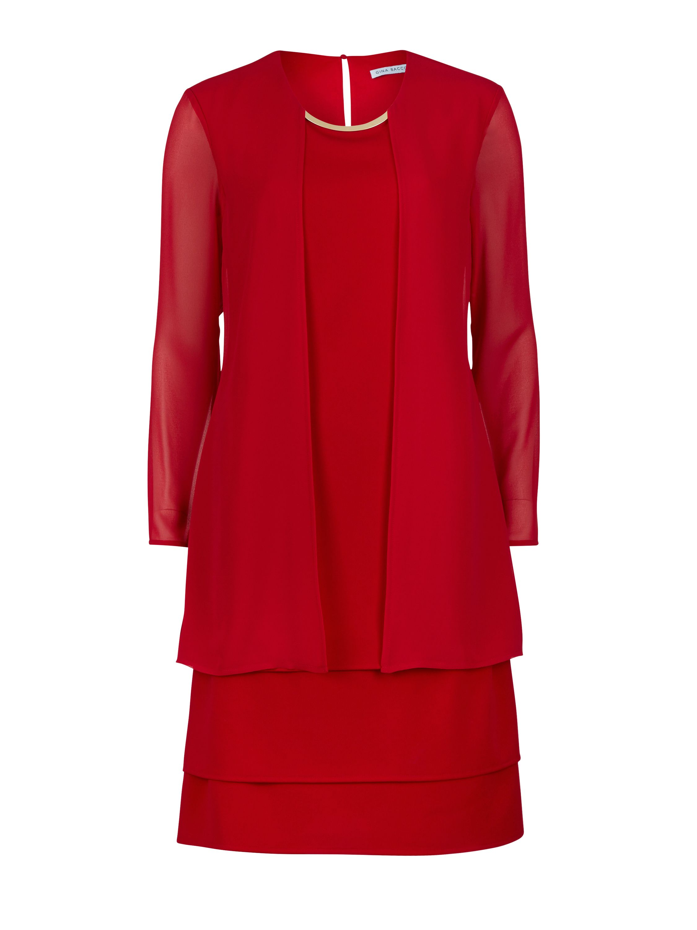 Gina Bacconi Chiffon dress and coat with gold band, Red