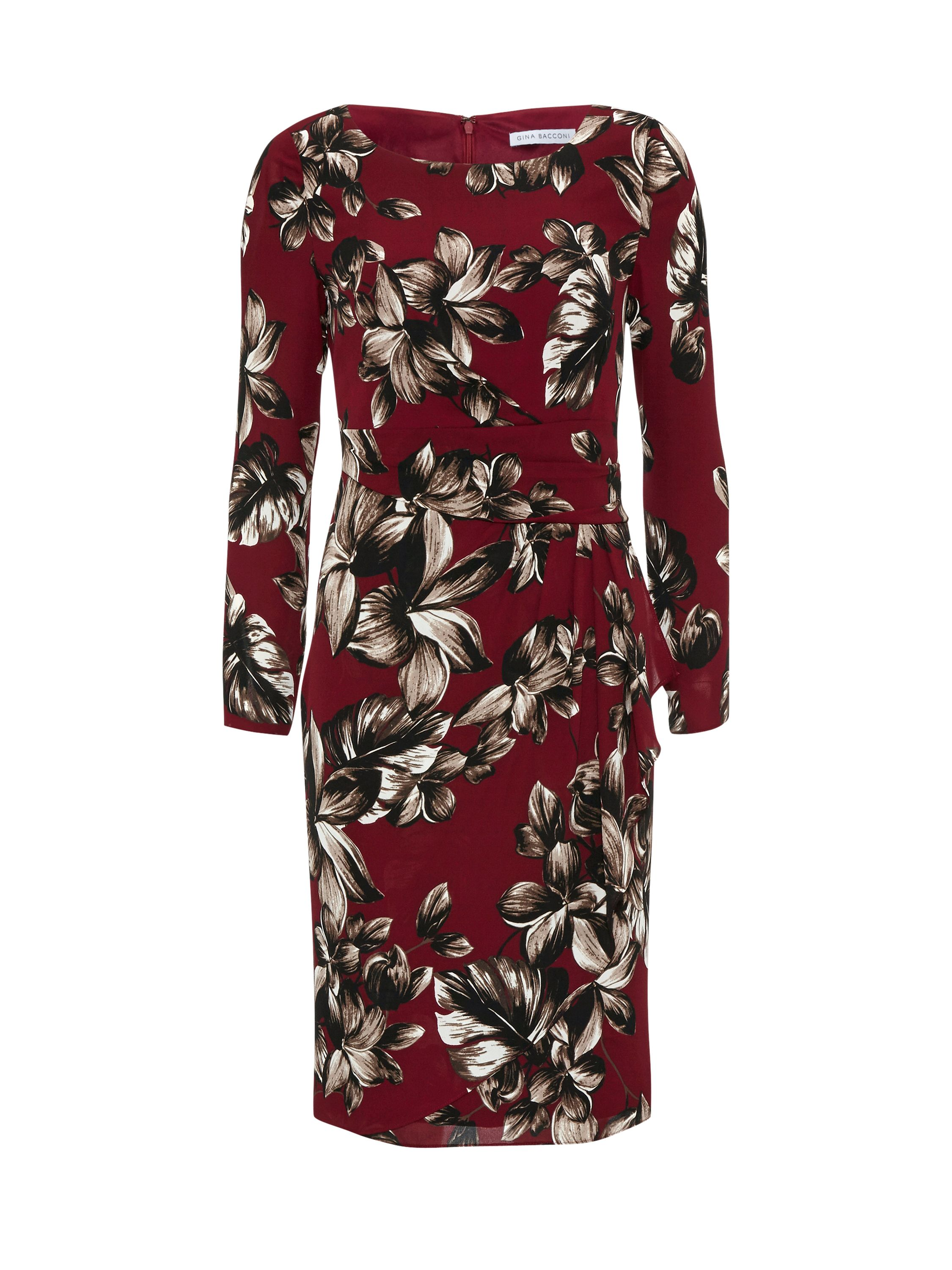 Gina Bacconi Etched floral crepe georgette dress, Red