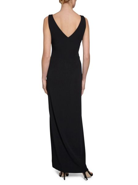 Gina Bacconi Crepe maxi dress with rose embroidery