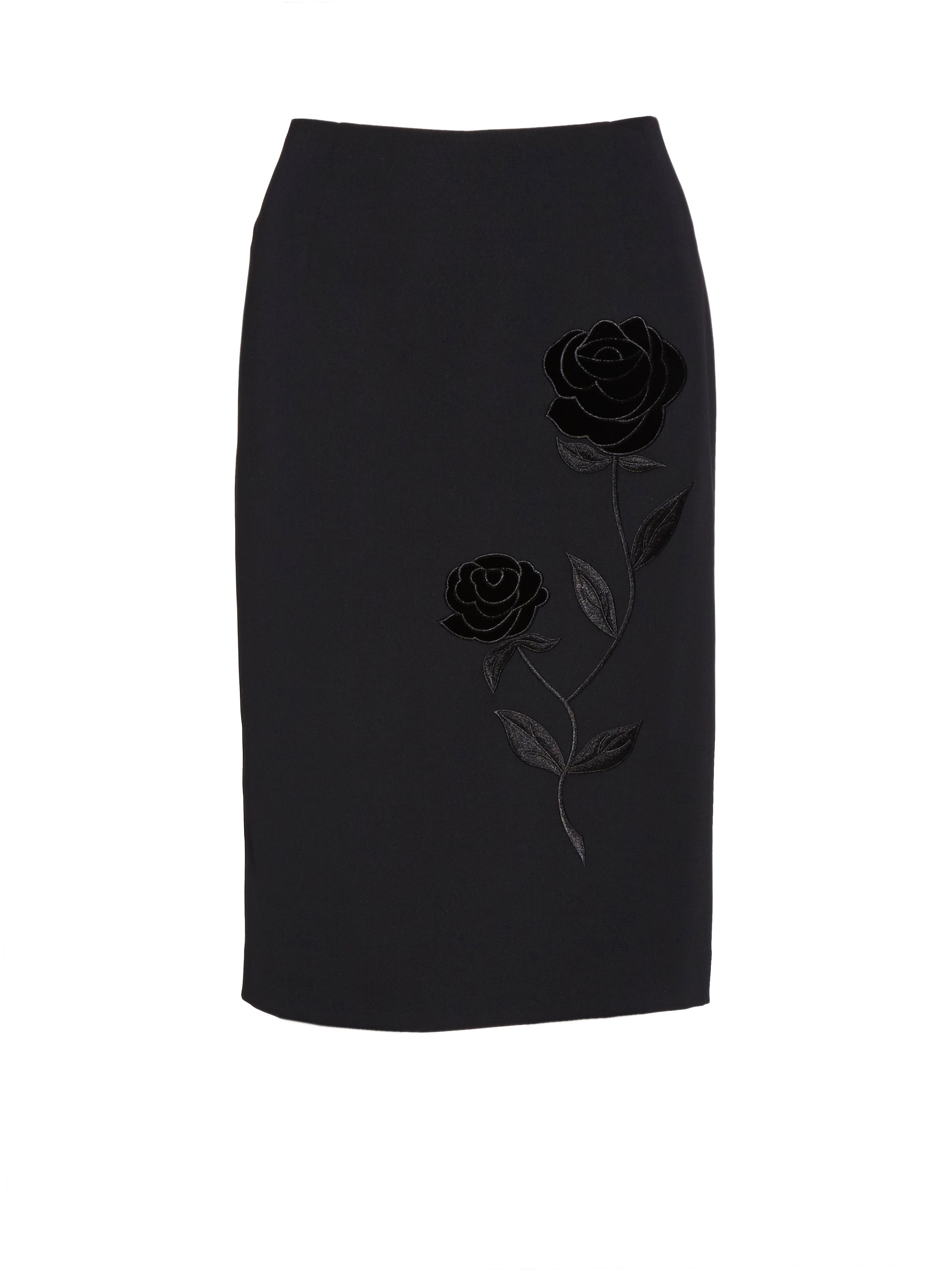 Gina Bacconi Moss crepe skirt with rose embroidery, Black