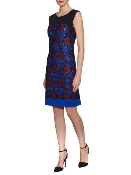 Gina Bacconi Panel Embroidered Dress
