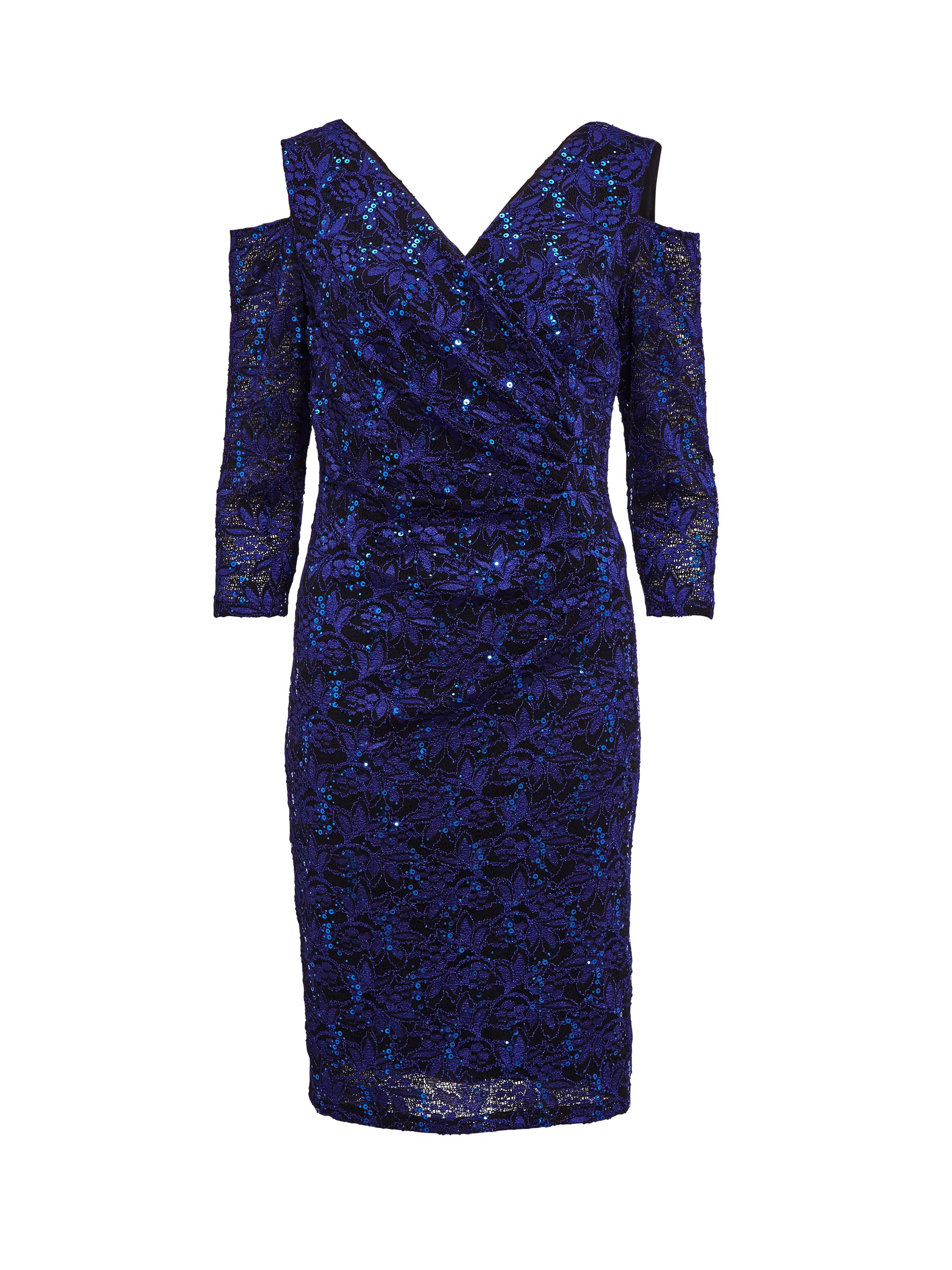 Gina Bacconi Cutout Shoulder Lace Dress, Blue