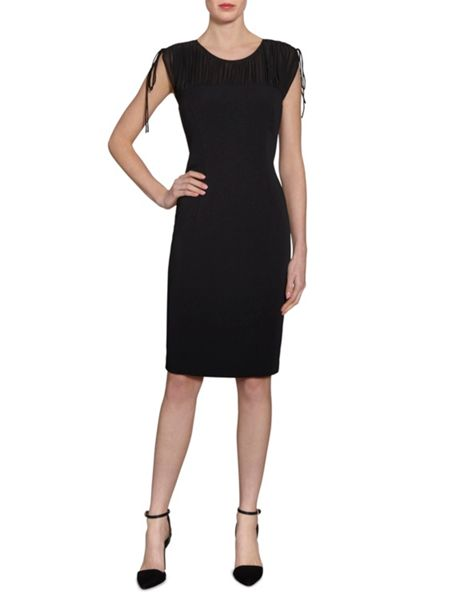 Gina Bacconi Rouched chiffon shoulder crepe dress