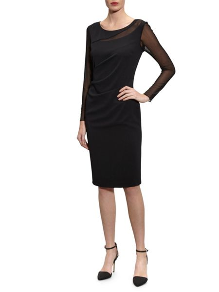 Gina Bacconi Moss crepe and mesh dress