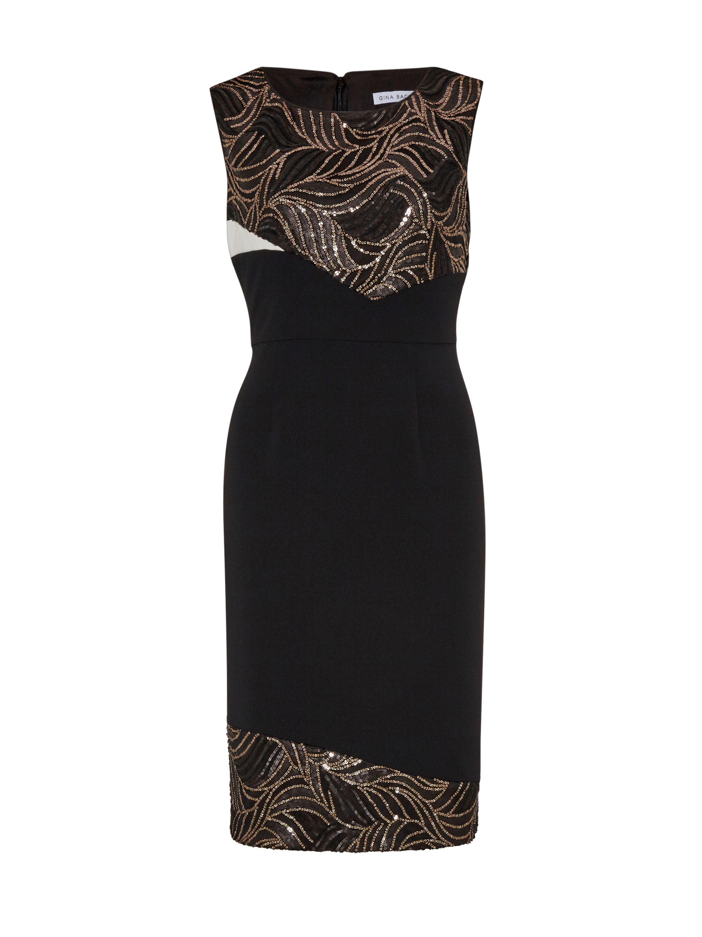 Gina Bacconi Mesh sequin cutout waves panel dress, Black
