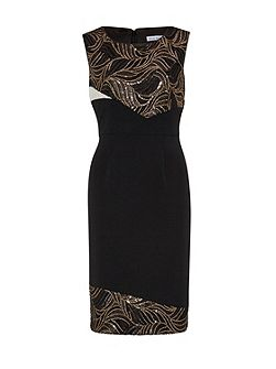 Mesh sequin cutout waves panel dress