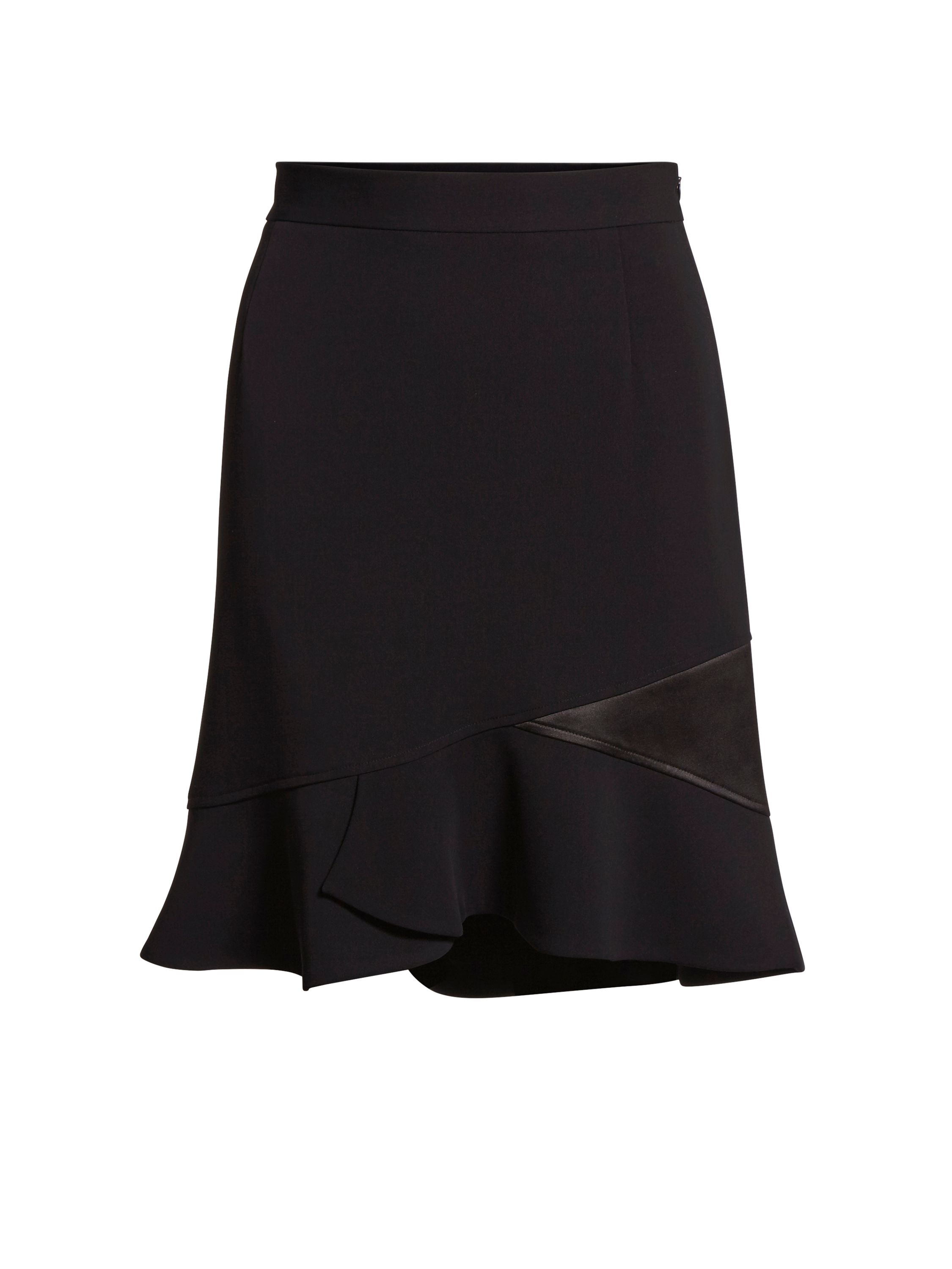 Gina Bacconi Moss Crepe Skirt With Satin Insert, Black