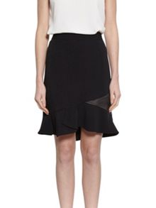 Gina Bacconi Moss Crepe Skirt With Satin Insert
