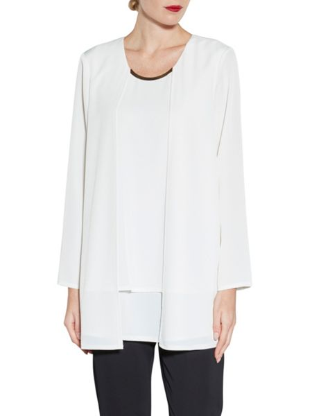 Gina Bacconi Layered Soho Crepe Top With Neck Trim