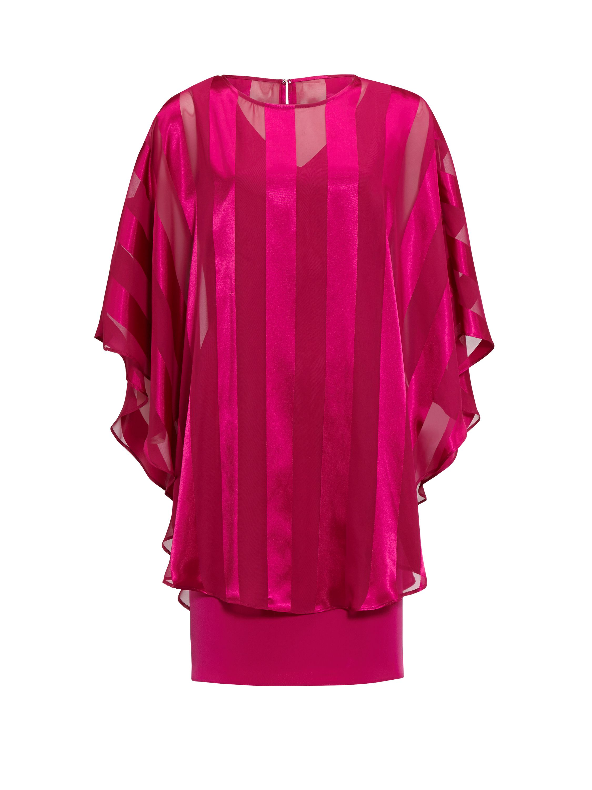 Gina Bacconi Soho Crepe Dress And Stripe Cape, Pink